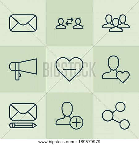 Social Icons Set. Collection Of Bullhorn, Business Exchange, Edit Mail And Other Elements. Also Includes Symbols Such As Amplifier, Bullhorn, Exchange.