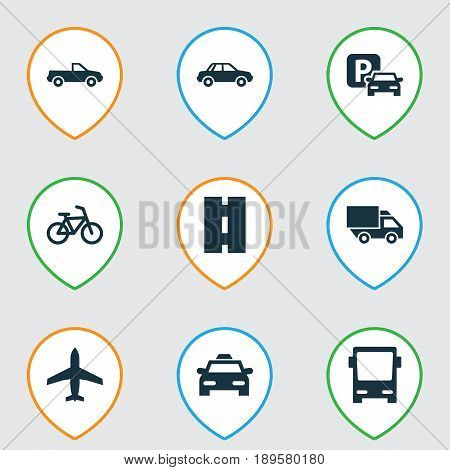 Transportation Icons Set. Collection Of Aircraft, Road Sign, Way And Other Elements. Also Includes Symbols Such As Velocipede, Cabriolet, Parking.