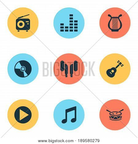 Audio Icons Set. Collection Of Barrel, Earmuff, Cd And Other Elements. Also Includes Symbols Such As Tuner, Guitar, Fm.