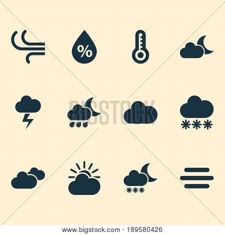 Climate Icons Set. Collection Of Temperature, Moonlight, Nightly And Other Elements. Also Includes Symbols Such As Snow, Thermometer, Wind.