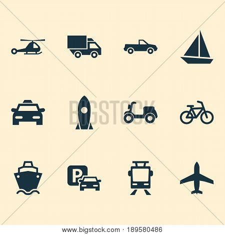 Shipment Icons Set. Collection Of Skooter, Spaceship, Chopper And Other Elements. Also Includes Symbols Such As Camion, Airplane, Helicopter.