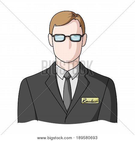 Male realtor.Realtor single icon in cartoon style vector symbol stock illustration .