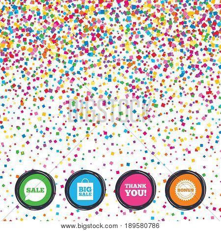 Web buttons on background of confetti. Sale speech bubble icon. Thank you symbol. Bonus star circle sign. Big sale shopping bag. Bright stylish design. Vector