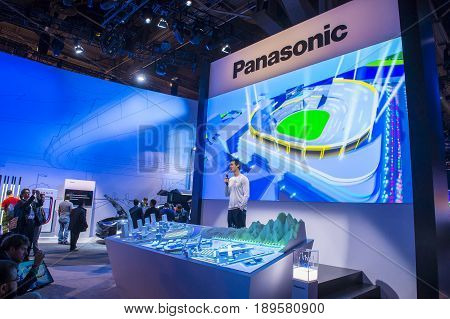 LAS VEGAS - JAN 08 : The Panasonic booth at the CES show in Las Vegas on January 08 2017 CES is the world's leading consumer-electronics show.