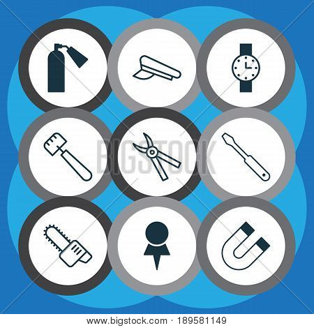 Apparatus Icons Set. Collection Of Attraction, Cop Cap, Turn Screw And Other Elements. Also Includes Symbols Such As Trowel, Pin, Cap.