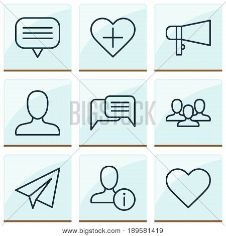 Communication Icons Set. Collection Of Bullhorn, Web Profile, Team And Other Elements. Also Includes Symbols Such As Team, Profile, Soul.