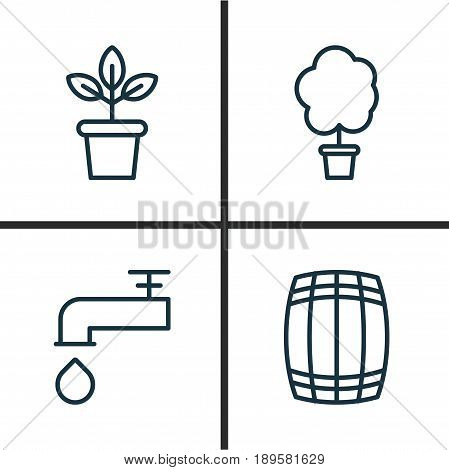 Farm Icons Set. Collection Of Flowerpot, Cask, Wood Pot And Other Elements. Also Includes Symbols Such As Plant, Pub, Tree.