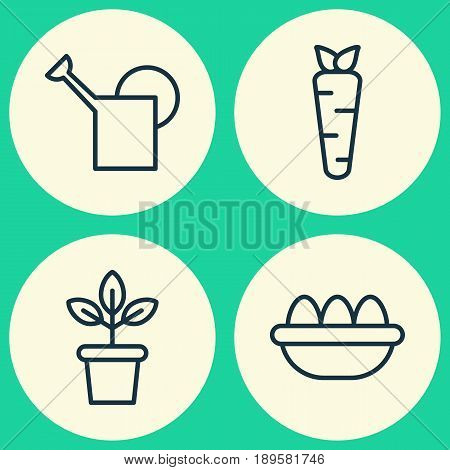 Gardening Icons Set. Collection Of Ovum, Root, Flowerpot And Other Elements. Also Includes Symbols Such As Ovule, Water, Plant.