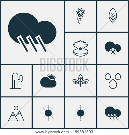 Harmony Icons Set. Collection Of Sprout, Raindrop, Cold Climate And Other Elements. Also Includes Symbols Such As Sunflower, Drop, Sunlight.