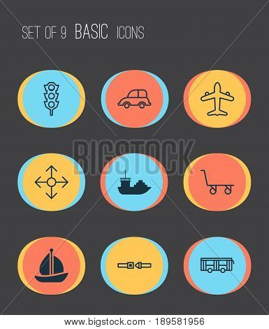 Transportation Icons Set. Collection Of Cargo Cart, Safety Belt, Vehicle And Other Elements. Also Includes Symbols Such As Jet, Lights, Bus.