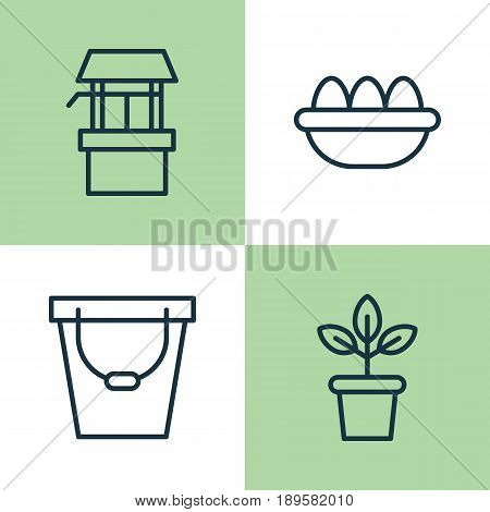 Gardening Icons Set. Collection Of Ovum, Water Source, Pail And Other Elements. Also Includes Symbols Such As Flower, Ovum, Well.
