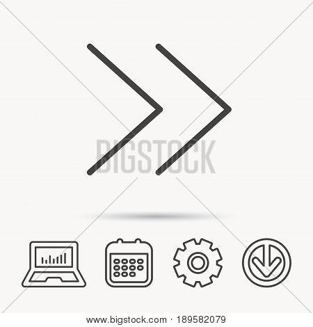 Next arrow icon. Forward sign. Right direction symbol. Notebook, Calendar and Cogwheel signs. Download arrow web icon. Vector