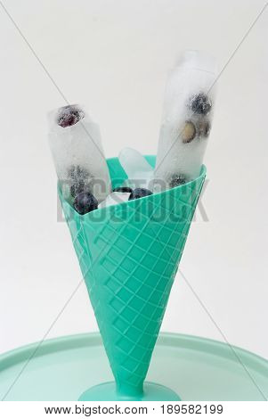 Ice Lolly Home Made With Fresh Fruit, Blueberry Flavor