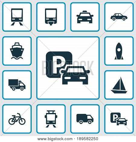 Shipment Icons Set. Collection Of Tanker, Spaceship, Truck And Other Elements. Also Includes Symbols Such As Boat, Wagon, Train.