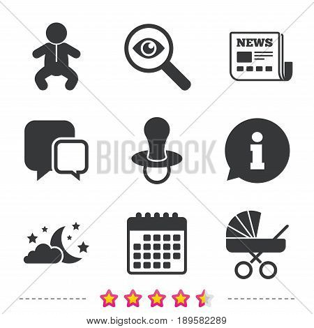 Moon and stars symbol. Baby infants icon. Buggy and dummy signs. Child pacifier and pram stroller. Newspaper, information and calendar icons. Investigate magnifier, chat symbol. Vector