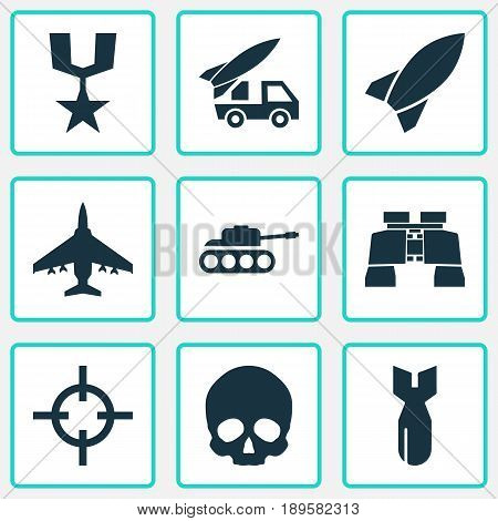 Combat Icons Set. Collection Of Aircraft, Target, Glass And Other Elements. Also Includes Symbols Such As Shot, Rockets, Cranium.