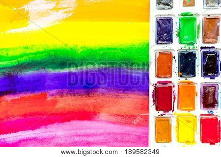 abstract pattern with multicolored oil paintings texture with pallete for artist design