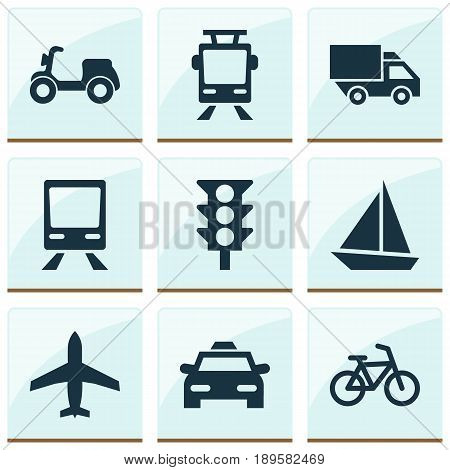 Transportation Icons Set. Collection Of Cab, Yacht, Bicycle And Other Elements. Also Includes Symbols Such As Moped, Light, Velocipede.