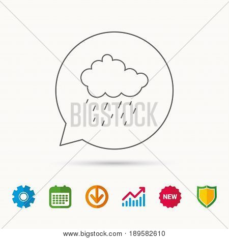 Rain icon. Water drops and cloud sign. Rainy overcast day symbol. Calendar, Graph chart and Cogwheel signs. Download and Shield web icons. Vector
