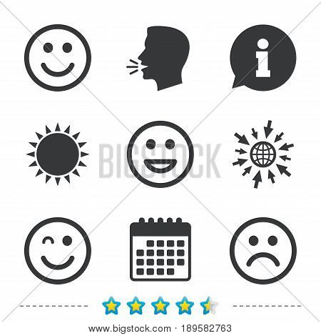 Smile icons. Happy, sad and wink faces symbol. Laughing lol smiley signs. Information, go to web and calendar icons. Sun and loud speak symbol. Vector
