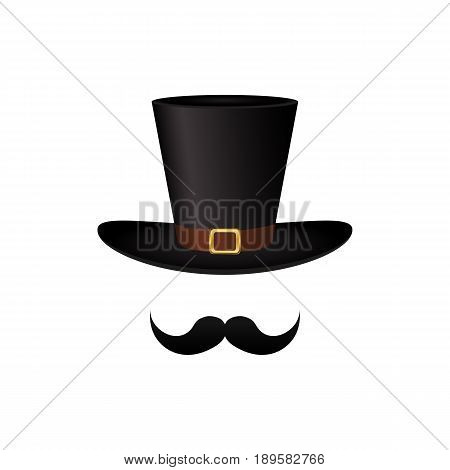 Mustache and hat cylinder vector illustration on white background