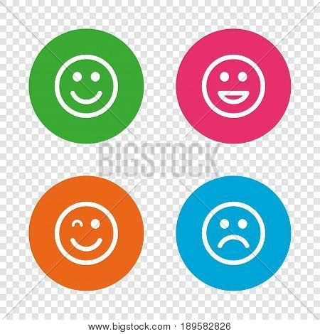 Smile icons. Happy, sad and wink faces symbol. Laughing lol smiley signs. Round buttons on transparent background. Vector