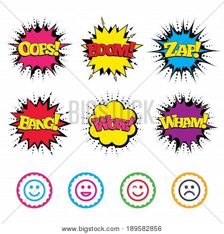 Comic Wow, Oops, Boom and Wham sound effects. Smile icons. Happy, sad and wink faces symbol. Laughing lol smiley signs. Zap speech bubbles in pop art. Vector
