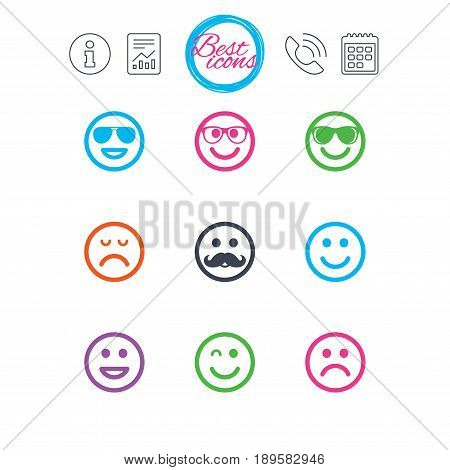 Information, report and calendar signs. Smile icons. Happy, sad and wink faces signs. Sunglasses, mustache and laughing lol smiley symbols. Classic simple flat web icons. Vector