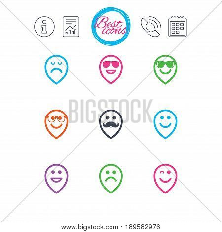 Information, report and calendar signs. Smile pointers icons. Happy, sad and wink faces signs. Sunglasses, mustache and laughing lol smiley symbols. Classic simple flat web icons. Vector