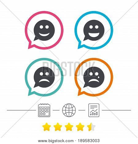 Speech bubble smile face icons. Happy, sad, cry signs. Happy smiley chat symbol. Sadness depression and crying signs. Calendar, internet globe and report linear icons. Star vote ranking. Vector