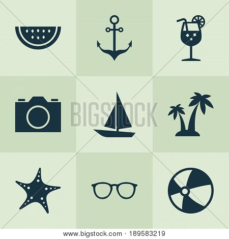 Season Icons Set. Collection Of Bead, Trees, Melon And Other Elements. Also Includes Symbols Such As Sea, Drink, Cocos.