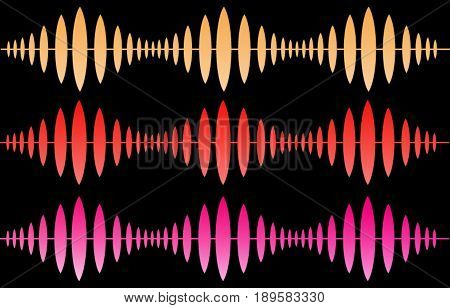 Three waves. Sound waves. Ultrasonic waves. Sonic waves. Horizontal waves. Black background
