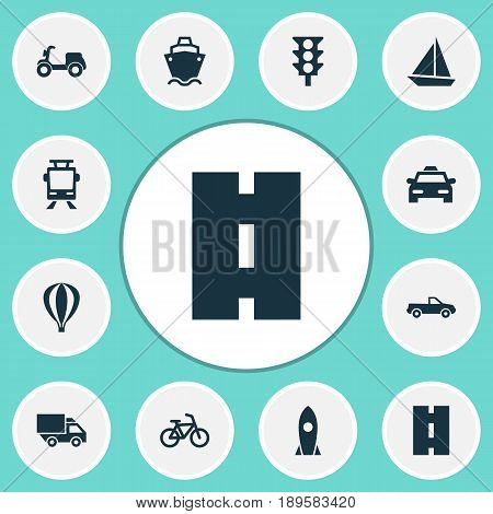 Shipment Icons Set. Collection Of Way, Tanker, Cabriolet And Other Elements. Also Includes Symbols Such As Streetcar, Tanker, Cargo.