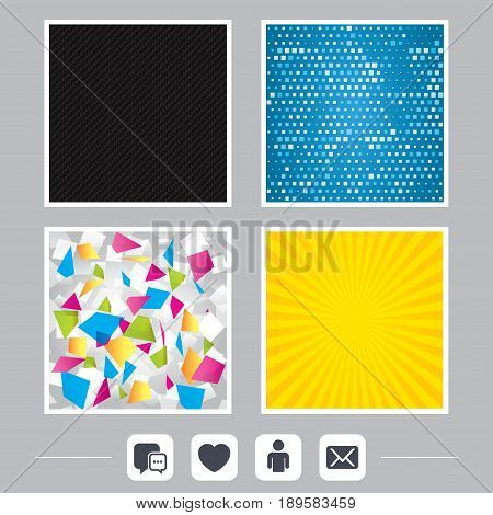 Carbon fiber texture. Yellow flare and abstract backgrounds. Social media icons. Chat speech bubble and Mail messages symbols. Love heart sign. Human person profile. Flat design web icons. Vector
