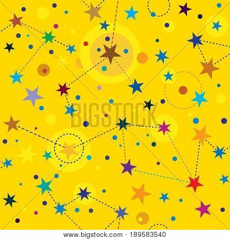 Golden Stars seamless pattern swatch tile background