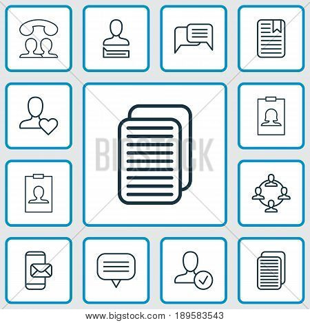 Communication Icons Set. Collection Of Text Bubble, Team Organisation, Confirm Profile And Other Elements. Also Includes Symbols Such As Identity, Paper, Page.
