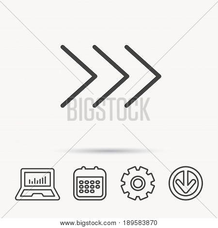 Right arrow icon. Next sign. Forward direction symbol. Notebook, Calendar and Cogwheel signs. Download arrow web icon. Vector