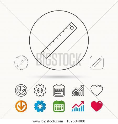 Ruler icon. Straightedge sign. Geometric symbol. Calendar, Graph chart and Cogwheel signs. Download and Heart love linear web icons. Vector
