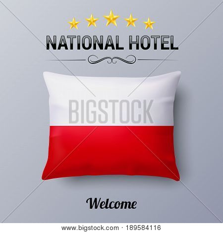 Realistic Pillow and Flag of Poland as Symbol National Hotel. Flag Pillow Cover with Polish flag