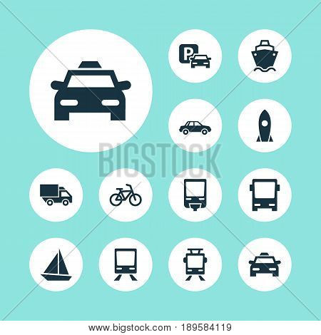 Transportation Icons Set. Collection Of Yacht, Bicycle, Cab And Other Elements. Also Includes Symbols Such As Wagon, Flight, Omnibus.