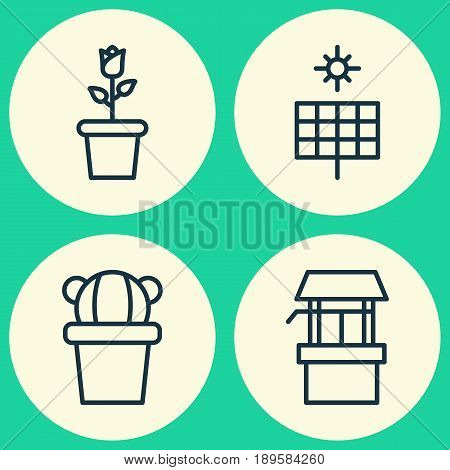 Gardening Icons Set. Collection Of Sun Power, Desert Plant, Floret And Other Elements. Also Includes Symbols Such As Pot, Source, Bloom.