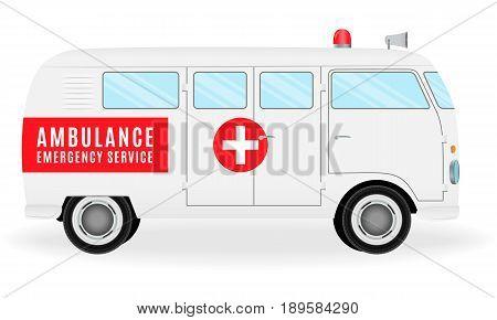 Ambulance car. Emergency medical service vehicle health symbol. Hospital transport. Flat style vector illustration.