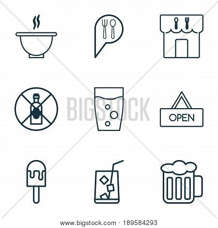 Icons Set. Collection Of Check In, Board, Soda Drink And Other Elements. Also Includes Symbols Such As Steam, Open, Water.