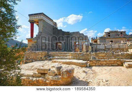 GRETE ISLAND, GREECE, SEP 12, 2012: Antique Knossos temple palace near to Heraklion. Palace of Minos Greek architecture. Greece mythology myths - Minotaur maze temple castle Greece island holidays