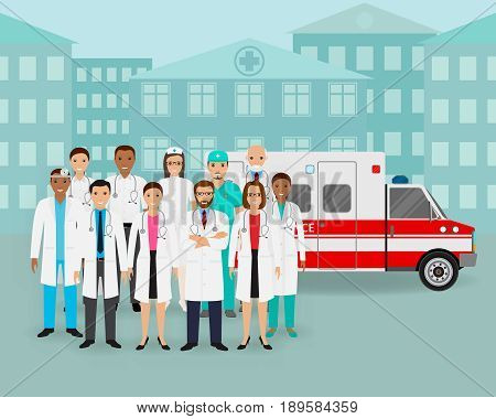 Medical team.. Group of doctors and nurses and ambulance car on cityscape background. Male and female emergency medical service employee. Hospital staff concept. Flat style vector illustration.