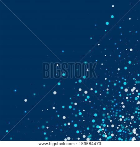 Beautiful Falling Snow. Scattered Bottom Right Corner With Beautiful Falling Snow On Deep Blue Backg