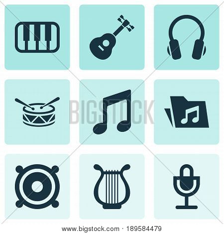 Audio Icons Set. Collection Of Barrel, Earphone, Mike And Other Elements. Also Includes Symbols Such As Megaphone, Microphone, Folder.