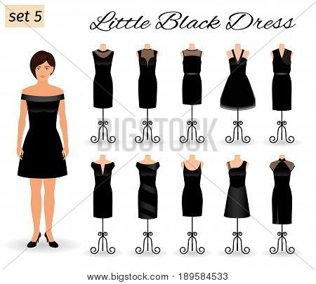 Fashion woman model character in little black dress. Set of cocktail dresses on a mannequins. Flat vector illustration.