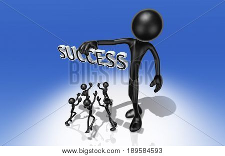 Holding Success Above Others The Original 3D Character Illustration