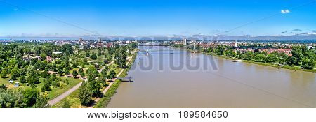 The Rhine between the French city of Strasbourg and the German town of Kehl. Jardin des Deux Rives